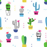 Cactus kid seamless pattern. Vector decoration. - 199293557