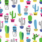 Cactus kid seamless pattern. Vector decoration. - 199293587