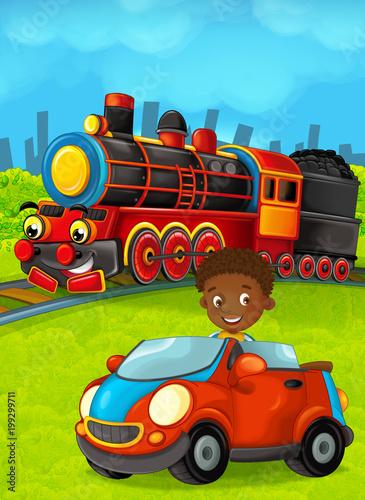 Cartoon train scene with happy kid / boy - illustration for the children - 199299711