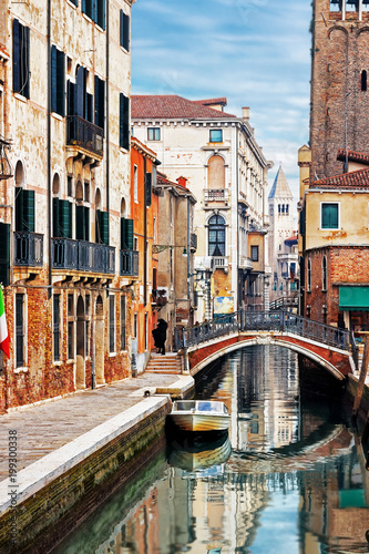 Ponte San Barnaba bridge and old street in Venice, Italy - 199300338
