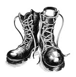 Ink black and white illustration of a military boots - 199303991
