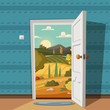 Open door. Valley landscape. Cartoon vector illustration. Vintage poster. Welcome to summer