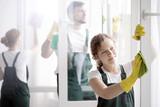Woman washing window's frame - 199306365