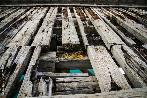 Szczegóły stary rujnujący most, butwienie drzewo przeciw tłu turkusowa rzeka