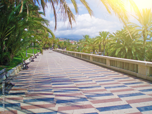 Fotobehang Liguria Promenade promenade in the city of San Remo, Italy