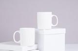 two blank white coffee mug mock ups - 199313940