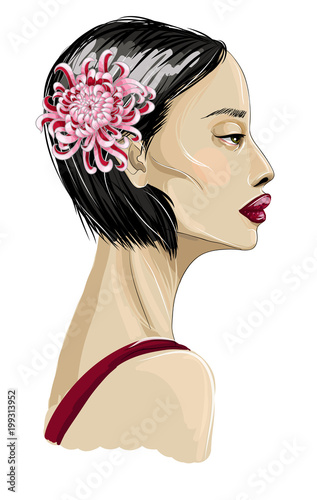 Japanese fashion girl model with flowers. Vector illustration. - 199313952