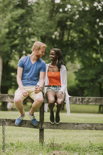 Multiracial couple in the park Poster