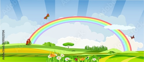 Foto op Plexiglas Lime groen Horizontal illustration of spring meadow with flowers and rainbow vector