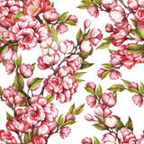 Seamless pattern with cherry blossoms. Watercolor illustration. - 199322544