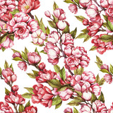 Seamless pattern with cherry blossoms. Watercolor illustration. - 199322549