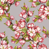 Seamless pattern with cherry blossoms. Watercolor illustration. - 199322569