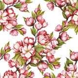 Seamless pattern with cherry blossoms. Watercolor illustration. - 199322581