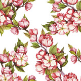 Seamless pattern with cherry blossoms. Watercolor illustration. - 199322590