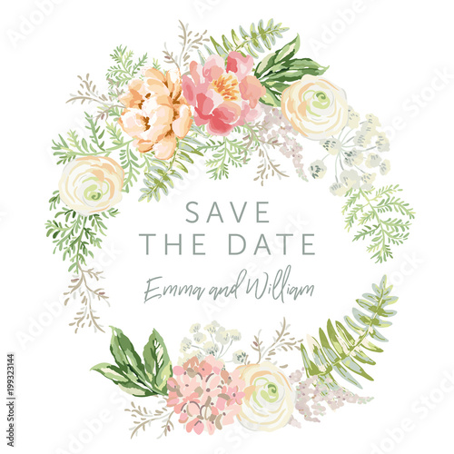 Wedding wreath Save the date. Pink flowers and green leaves. Watercolor vector illustration. Summer forest greenery bouquets.