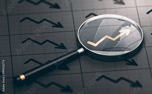 3D ilustracja powiększać - szkło nad złotym pozytywnym mapa symbolem. Koncepcja możliwości inwestycyjnych i doskonałych inwestycji.