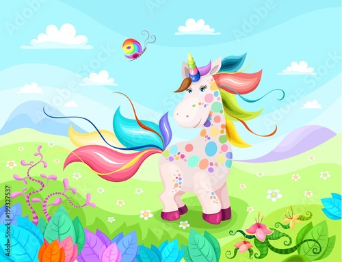Foto op Plexiglas Lichtblauw unicorn magic illustration