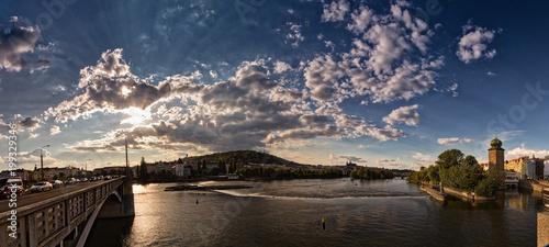 Poster Praag sunset on river