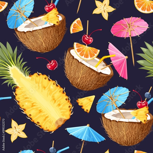 Materiał do szycia Summer seamless cocktail background