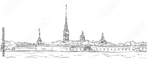Peter and Paul Fortress. Symbol of Saint Petersburg, Russia. Hand drawn vector illustration. - 199334911