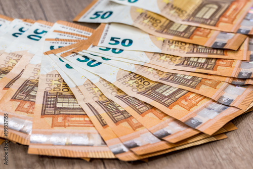Poster 50 new euro banknote as background for design