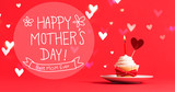 Mother's Day message with cupcake and heart ornament - 199337982