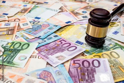 Judge hammer on euro bills