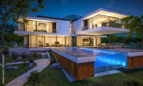 Leinwanddruck Bild 3d rendering of modern house by the river at night