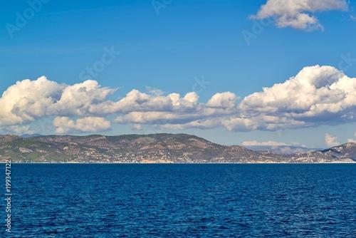 Fotobehang Donkergrijs sea landscape with hills