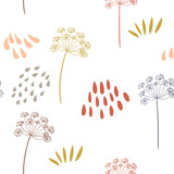 Vector organic floral seamless abstract background, botanical motif, freehand doodles pattern. - 199350719