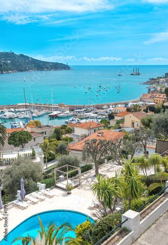 Fotobehang Nice Azure Mediterranean sea blue sky Villefranche Nice French riviera