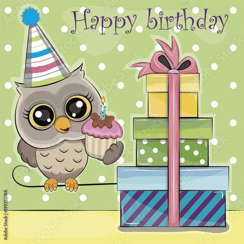 Fotobehang Uilen cartoon owl birthday