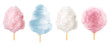 Cotton candy. Sugar clouds 3d vector icon set
