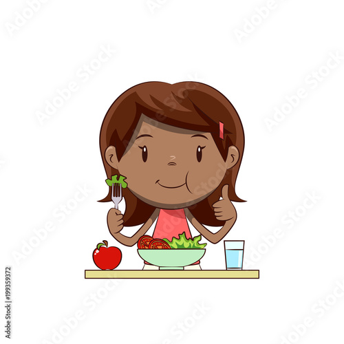 Little girl eating salad - 199359372