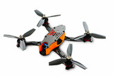 isolated drones racing FPV quadrocopter made of carbon black, drone ready for flight, stylish and modern hobby