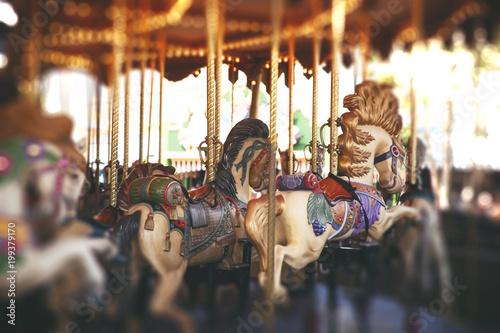 Keuken foto achterwand Amusementspark vintage carousel in the park