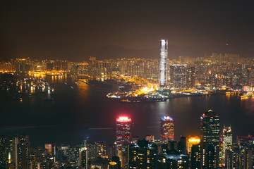 cityscape of  hong kong night