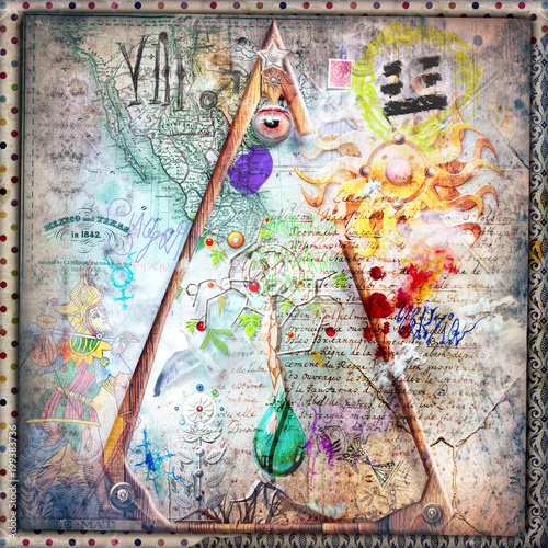 Fotobehang Imagination Sfondo con simboli,disegni e segni alchemici,astrologici e esoterici