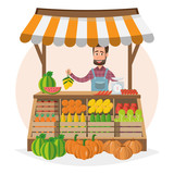 Farm shop. Local market. Selling fruit and vegetables. business owner working in his own store. - 199386937