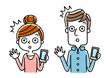 男性と女性:スマートフォン