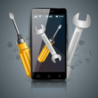 Repairs digital icon. Wrench and screwdriver. Vector eps 10