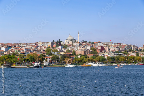 Istanbul, Turkey. Beautiful view of the bay of the Golden Horn. At the top of the hill is the mosque of Sultan Selim Yavuz