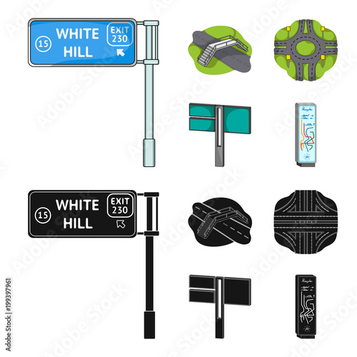 Direction signs and other web icon in cartoon,black style.Road junctions and signs icons in set collection. - 199397961