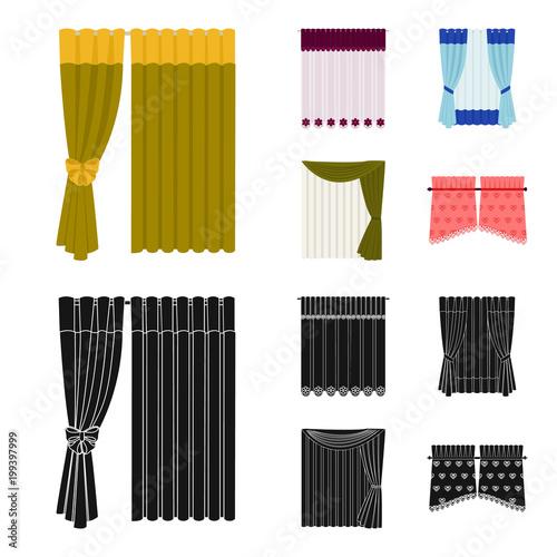 Zasłony, zasłony, podwiązki i inne ikony internetowych w kreskówce, czarny styl. Tekstylia, meble, ikony łuku w zestawie kolekcji.