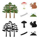 Pine, poisonous mushroom, tree, squirrel, saw.Forest set collection icons in cartoon,black style vector symbol stock illustration web.