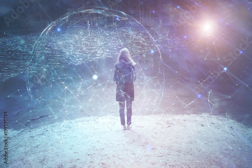 Woman person stands at lake with artistic digital cyberspace network background.