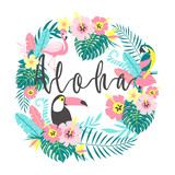 Toucan with flamingo, parrot, tropical flowers, palm leaves, hibiscus. Vector illustration - 199400551