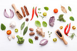 Various fresh vegetables and herbs on white background.Ingredients for cooking concept sweet basil ,tomato ,garlic ,pepper and onion with flat lay.. - 199400794