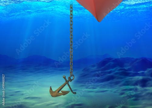 Podwodne tło ze statkiem i kotwicą
