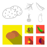 Olives on a branch, peas, onions, eggplant. Vegetables set collection icons in outline,flat style vector symbol stock illustration web.